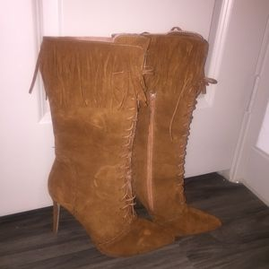 Shoes - Faux Suede Fringe Calf-High Boots
